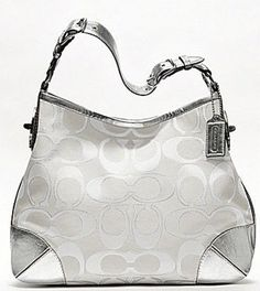 Coach Peyton Signature Sateen Metallic Shoulder Bag- White and Silver 19758 $259.00 #Coach #Handbags