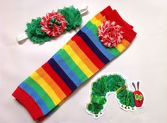 RAINBOW Stripe Leg Warmers and headband set, Very Hungry Caterpillar, girl, baby, hair clip, twin, photo prop,