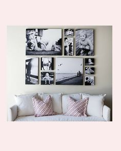 an all canvas display - keep photo displays close to furniture and remember - size matters! Canvas Display, Canvas Collage, Wall Canvas, Canvas Prints, Wall Art, Canvas Art, Display Wall, Painting Canvas, Decoration Inspiration