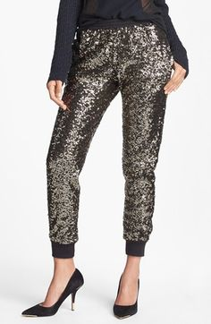 sequin track pants / wayf