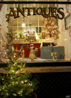antique store christmas display - Lititz, PA by gypsymarestudios, via Flickr- Christmas in Lititz Pa