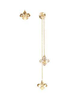 Elise Dray Earrings :: Elise Dray yellow gold and white diamonds fleur-de-lys Charm & Chain earrings | Montaigne Market