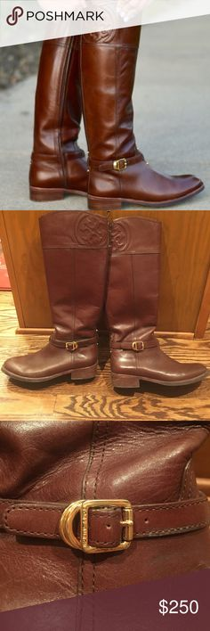 "Tory Burch Marlene Riding Boots! Some signs of wear but otherwise in great shape!  1 1/4"" heel.   17"" boot shaft; 14 3/4"" calf circumference.  Side zip closure.  Leather upper/leather and textile lining/leather and rubber sole. Tory Burch Shoes Winter & Rain Boots"