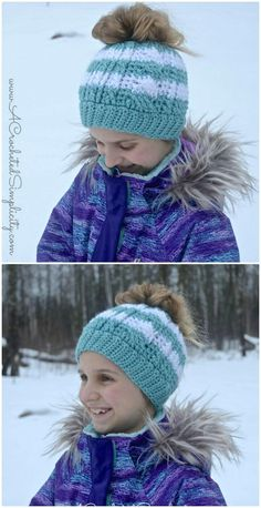 Free Crochet Cabled Messy Bun Hat – Kids' Sizes Video Tutorial Included - Crochet Hat Patterns - 148 Free Patterns for Beginners - DIY & Crafts
