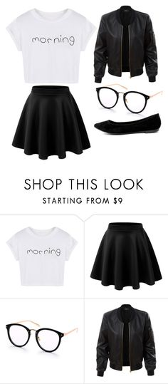 """school"" by hjeanb on Polyvore featuring WithChic, LE3NO and Breckelle's"
