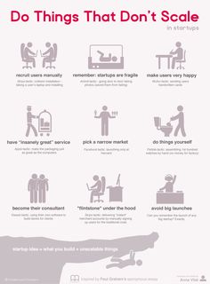 An infographic summary of Paul Graham's essay about how the most successful startups scale in unscalable ways. Do things that don't scale is his advice. Start Up Business, Starting A Business, Business Tips, Business Motivation, Successful Business, Viral Marketing, Content Marketing, Digital Marketing, Make An Infographic