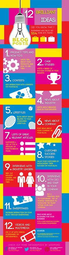 12 Brilliant ideas (Blog Posts) #infografia #infographic #socialmedia