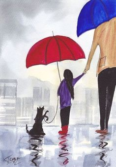 Rainy Day Walkies~Dad, Me and Jack by  K J Carr