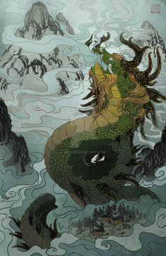 """Done for an art contest in which the theme was """"dragons"""" and it had to be somewhat original and it had to be a connection with a background and the drag. The Mist Bringer Japanese Drawings, Japanese Tattoo Art, Kunst Inspo, Art Inspo, Art And Illustration, Fantasy Kunst, Fantasy Art, Anime Kunst, Anime Art"""