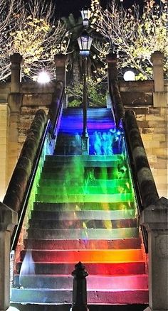 Hopscotch Stairs in Sydney, Australia. They light up when walking up or down. They are between Macquarie Street and Circular Quay, originally known as the Moore Stairs.