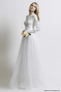 "Costarellos bridal 2014 long sleeve lace wedding dress with tulle skirt and modest ""Grace Kelly-esque"" neckline."