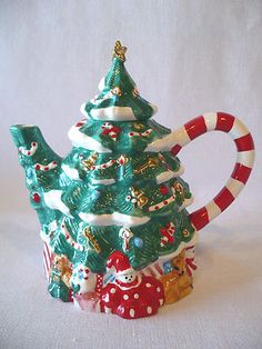 "Christmas Tree Tea Pot 8 75"" Candy Cane Handle Great Gift for Tea Pot Collectors 