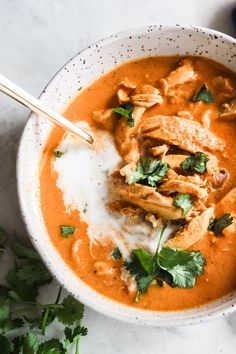 We took classic Indian chicken tikka masala and turned it into a soup that is the definition of cozy. Slurping encouraged. Tikka Masala Sauce, Chicken Tikka Masala, Indian Chicken, Chicken Tika, Tika Masala, Healthy Soup Recipes, Low Carb Recipes, Cooking Recipes, Cod Recipes