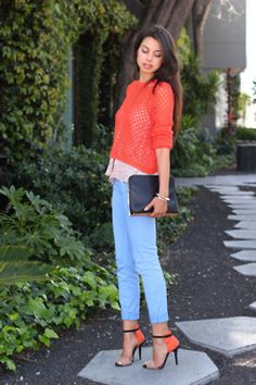 ...coral crochet and baby blue, with a pair of killer heels.