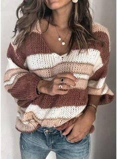 [£ Striped Chunky knit V-Neck Sweaters - VeryVoga Casual Sweaters, Casual Tops, Sweaters For Women, Women's Sweaters, Loose Sweater, Long Sleeve Sweater, Pull Rose, Retro Sweatshirts, Vestidos Fashion