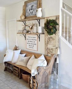 Start your free trial supported diy shabby chic home decor Diy Home Decor Rustic, Rustic Entryway, Country Farmhouse Decor, Entryway Decor, Farmhouse Style, Fresh Farmhouse, Farmhouse Interior, Vintage Farmhouse, Vintage Porch