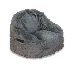 ACEssentials Faux Fur Bean Bag Structured Chair with Pocket Bean Bag Lounger, Bean Bag Chair, Teen Study Areas, Childrens Bean Bags, Faux Fur Bean Bag, Grey Chair, Chair Upholstery, Upholstered Chairs, Arquitetura