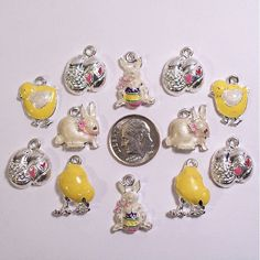 12 EASTER Enamel Holiday Charms,Jewelry Crafts Scrapbooking #696