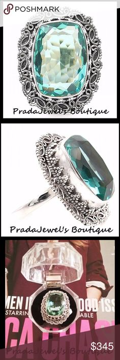 """18CT Aquamarine 925 Solid SS Detailed Ring!!! 18 CARATS AQUAMARINE, GENUINE 925 SOLID STERLING SILVER DETAILED DESIGN RING SIZE 8.25. ITEM IS STAMPED 925. DIMENSION OF THE ITEM IS APPROX 1"""" LONG AND 3/4"""" WIDE. WEIGHT OF THE PIECE IS APPROX 8 GRAMS. Appraised for 200-300 dollars. have paperwork. Ring Size:8.25 Metal:Sterling Silver Sizable:Yes Main Stone:Aquamarine Main Stone Color: Aqua Metal P:925 parts 1000 Clarity and color: VS-VVS Type 1 Green/blu Boutique Jewelry Rings"""