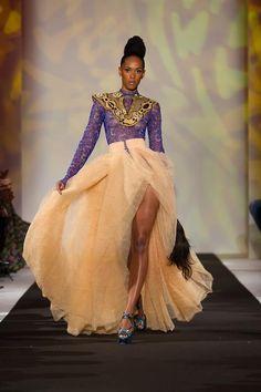 *Elie Kuame Couture – Black Fashion Week Paris (Photography: Nicolas Romain) She looks majestuous African Attire, African Wear, African Dress, African Women, African Style, African Beauty, Fashion Week, Love Fashion, Fashion Show