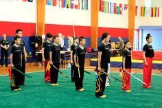 Everyone together for the final finale of the wushu performance. At the New Zealand National Wushu Competition, organised by the New Zealand Kung-Fu Wushu Federation (NZKWF). Chinese Martial Arts, Auckland, Kung Fu, New Zealand, Competition, Group, Sports, Sport