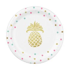 #gold - #Pineapple Birthday Paper Plates Tropical Luau Gold