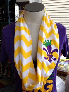 Fleurty Girl - Everything New Orleans - Mardi Gras Fleur de Lis Chevron Infinity Scarf - Scarves - Footwear & Accessories