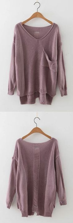Long Sleeve V Neck High Low Hem Pullover Sweater