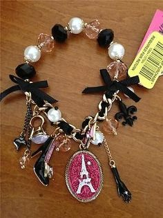 Betsey Johnson Holiday Boxed Black Leopard Heart Half Stretch Charm Bracelet Jewerly Pinterest Bracelets And Stretches
