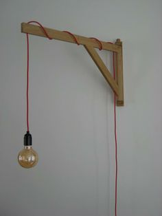 light on wooden bracket