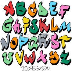 Граффити шрифт алфавит — Стоковая иллюстрация #7796727
