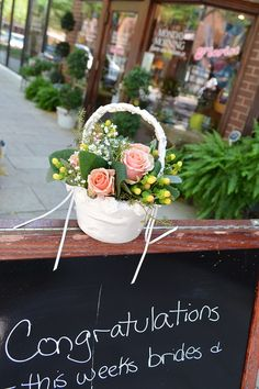 Flower Girl Basket of peach roses and berries. Too cute.