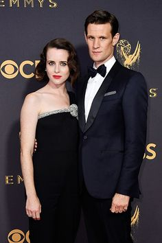 Royal couple: Channeling her on-screen alter-ego Her Majesty, Claire added a touch of royal sparkle with a silver knotted strap around the neckline and a flowing train that cascaded over one shoulder while Matt looked dapper in a navy silk suit Matt Smith, British Actresses, Actors & Actresses, Clare Foy, Michelle Bennett, The Crown Series, Crown Netflix, Hollywood Red Carpet, The Emmys