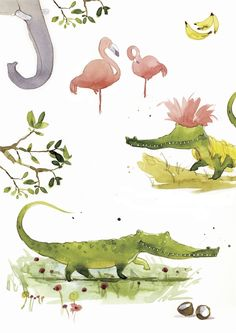Victoria Ball - Elephant trunk with alligators and flamingos