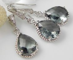 Gray Silver Teardrop Czech Glass Crystal Necklace and Earring Set Bridesmaids Jewelry, Bridal Jewelry on Etsy, $48.00