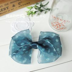 10CM bow hairpin fresh blue dot organza Yuzui folder Korea - Taobao