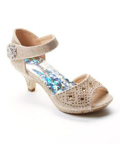 Love this Champagne Peep-Toe Sandal on #zulily! #zulilyfinds