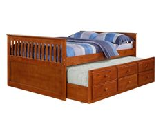 trundle beds for kids | 103F-E Full Mission Captains Trundle Bed