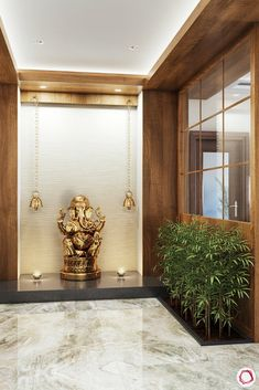 Pooja room door designs with glass aside, there are so many other ways to incorporate glass into pooja rooms. Pooja Room Door Design, Foyer Design, Lobby Design, Entrance Design, Temple Design For Home, Indian Home Design, Home Entrance Decor, Entrance Foyer, Glass Partition Designs