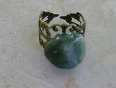 Antique Brass Emerald Ring by BellasChicCollezione on Etsy, $12.00