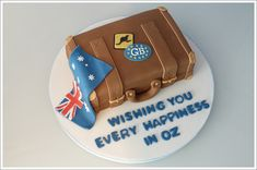Bon Voyage suitcase cake
