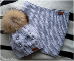Купить Набор - серый, комплект, шапка, снуд, комплект вязаный, помпон, енот, еноты, шерсть