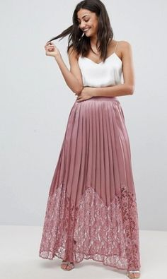 Buy Little Mistress Tall Lace Pleated Maxi Skirt at ASOS. Get the latest trends with ASOS now. Printed Skirt Outfit, Denim Skirt Outfits, Asos, Outfits For Spain, Mode Online, Business Outfits, Wedding Party Dresses, Ladies Dress Design, Dress To Impress