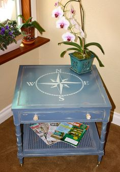 mid century vintage end table. Chalk paint and a custom drawn nautical compass.