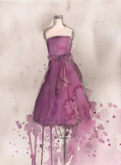 CLEARANCE - Vintage Dress Painting - Original Watercolor and Charcoal Painting  - Vintage Purple Bow Dress - 11x14