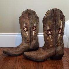 {JB Dillon} Cowgirl Boots w Flower Embroidery Awesome cowgirl boots! Bought these for CMA Fest in Nashville and don't have a need for them anymore. Only worn once. Exquisite attention to detail. One of a kind! J.B. Dillon Shoes Heeled Boots