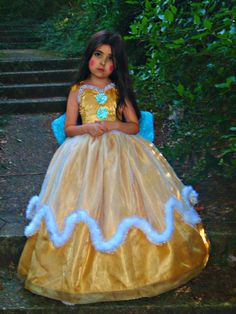 Gold Fairy Princess Dress Costume Flower by #FriolinaFancyDesigns