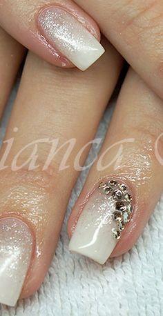 weiß Glitzer Nägel, white Glitter nails