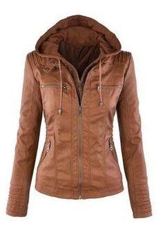 Hat Detachable Zipper Faux Leather Hooded Lapel Pockets Top Brown Size M-XXL