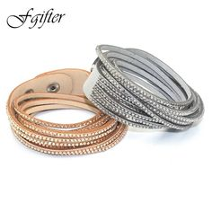 Fashion 6 Layer Wrap Bracelets Slake Leather Bracelets With Crystals Couple Jewelry womans bracelet